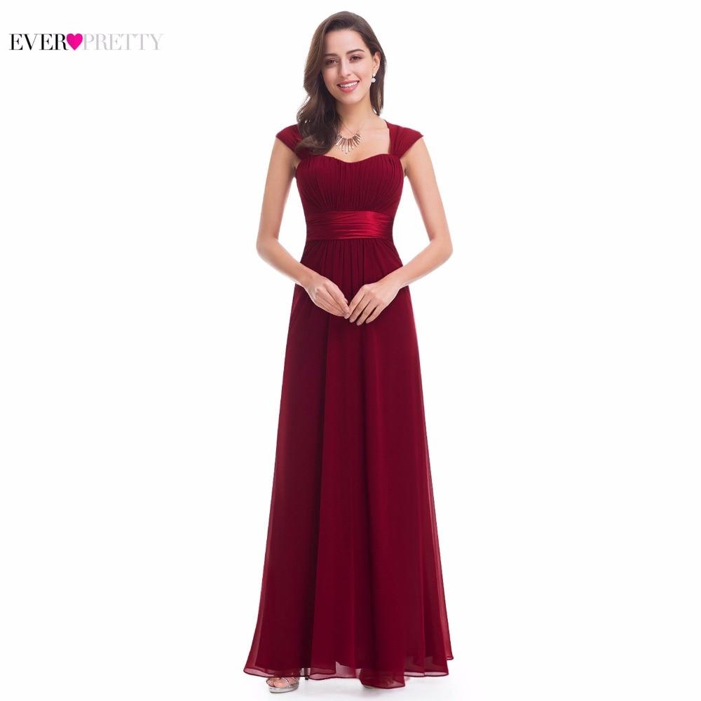 Pink Bridesmaid Dresses 2018 Ever Pretty 08834 Long Chiffon 4 Color Cheap Wedding Party Dresses Bridesmaid Dresses Wedding Gift