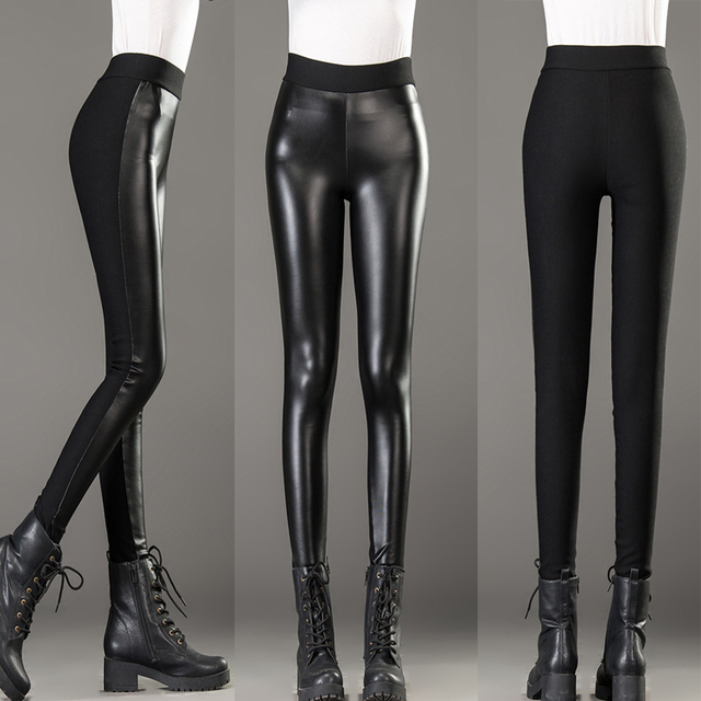 Plus velvet thickening female PU high waist pants patchwork elastic legging plus size slim skinny pants