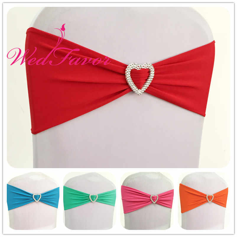 WedFavor Hot Sale 50pcs Lycra Stretch Chair Sash Ribbons Spandex Chair Band Bow Ties With Heart Buckle For Party Wedding Hotel