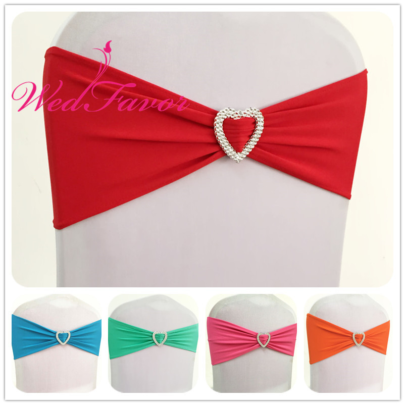 WedFavor Hot Sale 50pcs Lycra Stretch Chair Sash Ribbons Spandex Chair Band Bow Ties With Heart Buckle For Party Wedding Hotel-in Sashes from Home & Garden    1