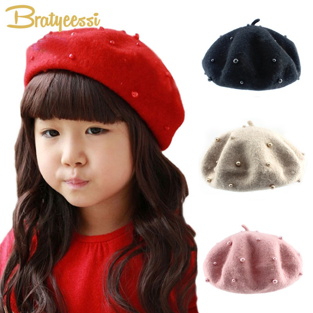 Fashion Wool Baby Hats with Pearls Candy Color Retro Baby Girl Beret Cap  for 3- 5607e880ade