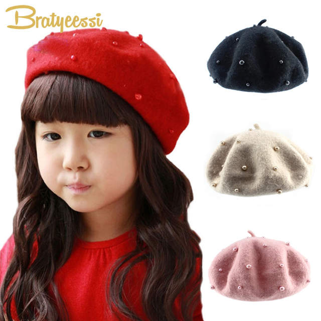 7a8eea39b4c3f Online Shop Fashion Wool Baby Hats with Pearls Candy Color Retro Baby Girl  Beret Cap for 3-8 Years 1PC