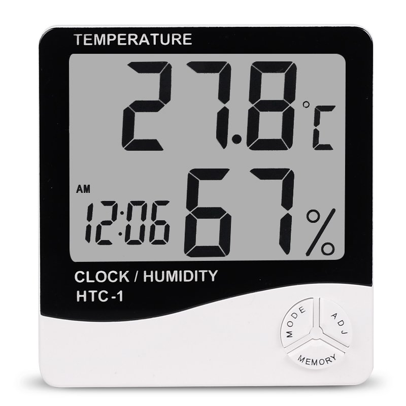 Indoor Room LCD Electronic Temperature Humidity Meter Digital Thermometer Hygrometer Weather Station Alarm Clock HTC-1 1pcs high accuracy lcd digital thermometer hygrometer electronic temperature humidity meter clock weather station indoor