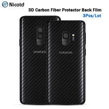 Autoadesivo della parte posteriore 3Pcs Per Samsung Galaxy A8 A6 J6 2018 Più Protezione Dello Schermo Per Samsung S9 Più S8 di Carbonio fibra Posteriore Del Telefono Pellicola