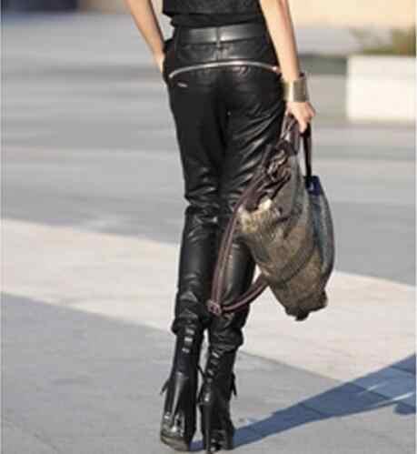 S-5XL Yeni kadın moda tüm maç taklit fermuar motosiklet deri pantolon Artı boyutu harem pantolon kalem pantolon