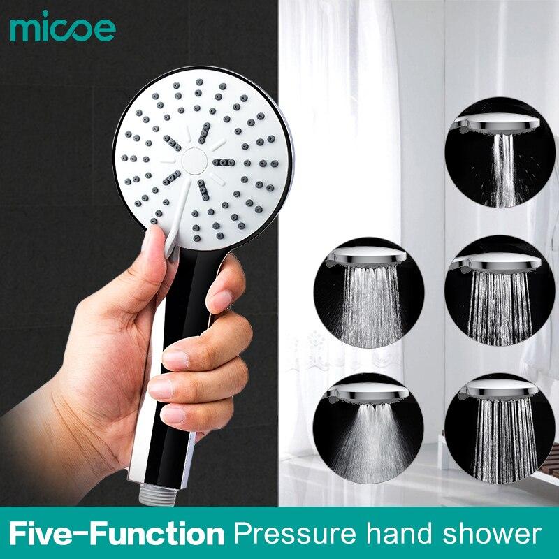 Micoe tête de douche salle de bains accessoires cinq fonction douche buse ABS matériel d'économie d'eau chrome douche à main tête