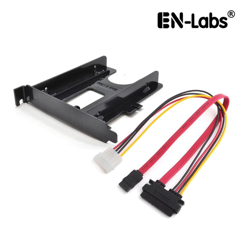 """En-Labs SATA Data & Power Combo Cable w/ PCIe / PCI Slot 2.5"""" HDD/SSD Mounting Bracket 2.5"""" to PCI Rear Panel Hard Drive Adapter"""