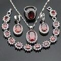 Handmade Red Criado Garnet Branco CZ Conjuntos de Jóias Para As Mulheres Brincos Pulseira Anéis de Cor Prata Colar de Pingente de Caixa de Presente Livre