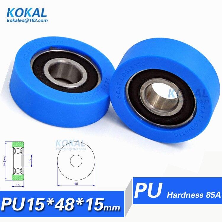 PU1548 15 5PCS high quality 6202RS rubber soft TPU sorter machine bearing roller wheel 15
