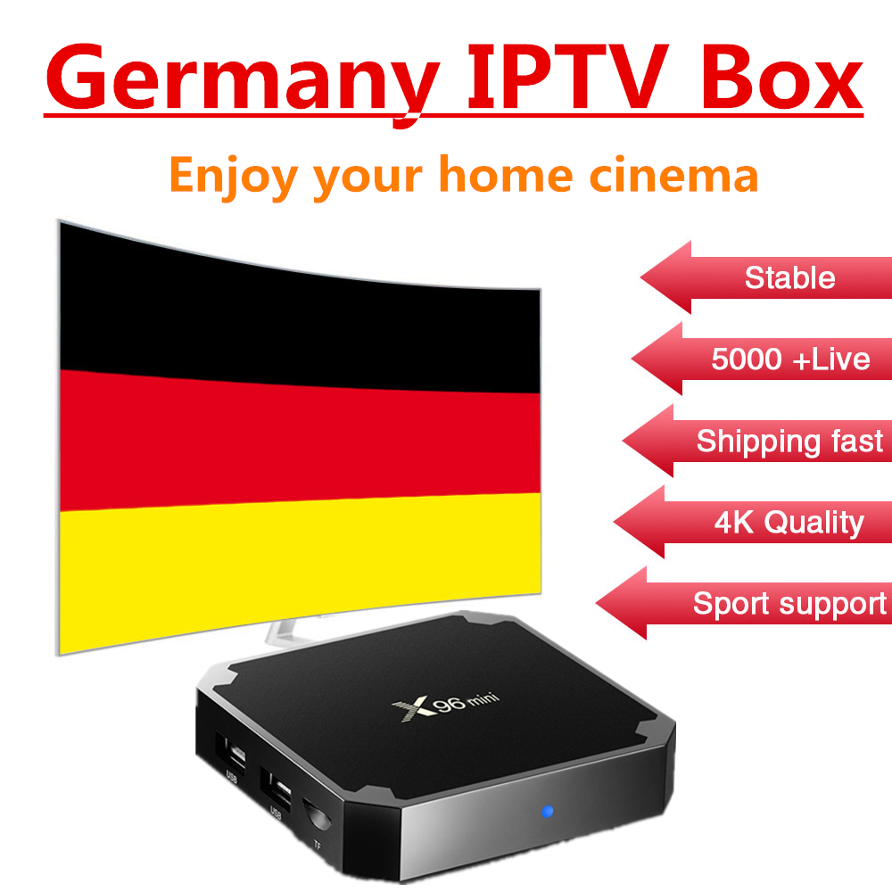 Germany IPTV box for X96mini Android 7.1 TV box S905W with one year Germany Italy Spain hot club iptv Smart tv box free shipping
