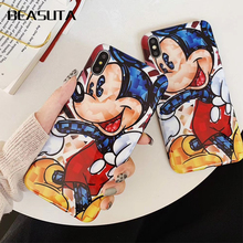 Funny Cartoon Minnie Mickey Soft TPU Case for coque iPhone X 7 8 Plus 6s 6plus Silicone XS MAX Cover Accessories