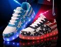2017 nova bandeira dos eua shoes masculino feminino led tênis meninos meninas luminosa led de carregamento par levou dança shoes tide estrela led shoes