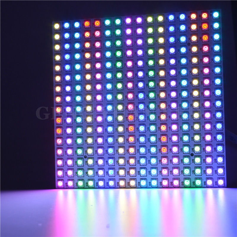 16*16 Pixel 5050 RGB WS2812B panel SK6812 WS2812 Addressable Ragid LED Panel Screen Individually Addressable RGB Full Color DC5V-in LED Strips from Lights & Lighting