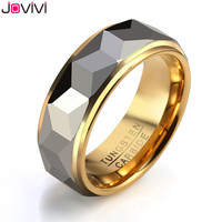 JOVIVI 8mm Silver Gold Tungsten Carbide Rings For Men Multi Facet Engagement Wedding Band Comfort Fit