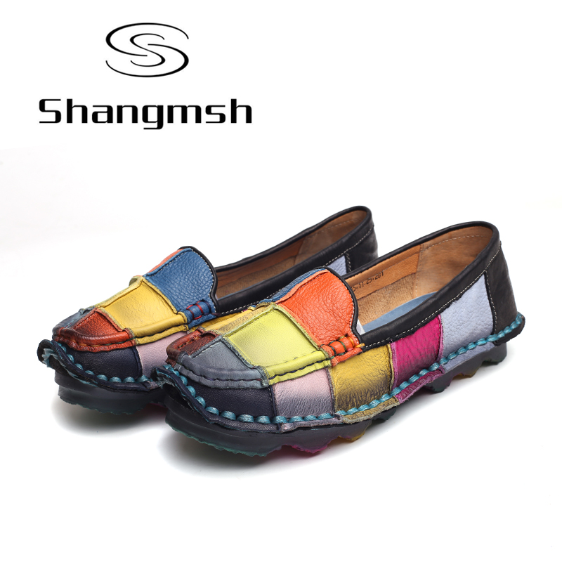 Shangmsh Shoes women 2017 Fashion Genuine leather shoes Female slip on Casual Loafers Driving Shoe Moccasins plus size 43