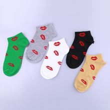 5Pair Cotton Harajuku Women Socks Red Lips Girls Funny Short Female Low Cut Ankle For Ladies