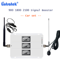 lintratek car use signal booster kit tri band 2g 3g 4g cellphone repeater amflifier 900 1800 2100 mhz 4g amplifier for car S40