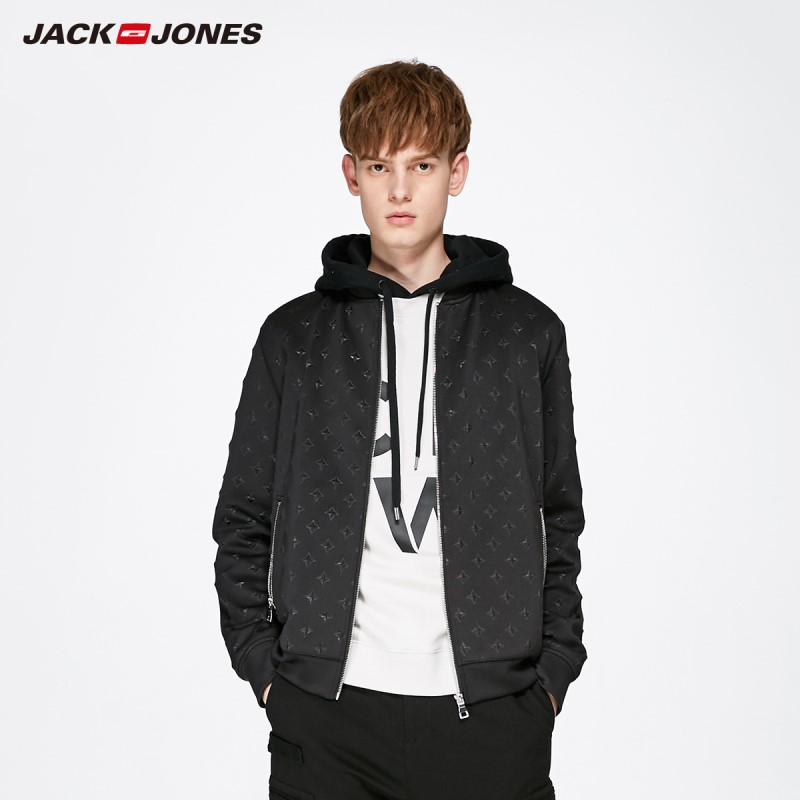 JackJones Men's Black Thin Short Baseball Jacket Streetwear 219121507