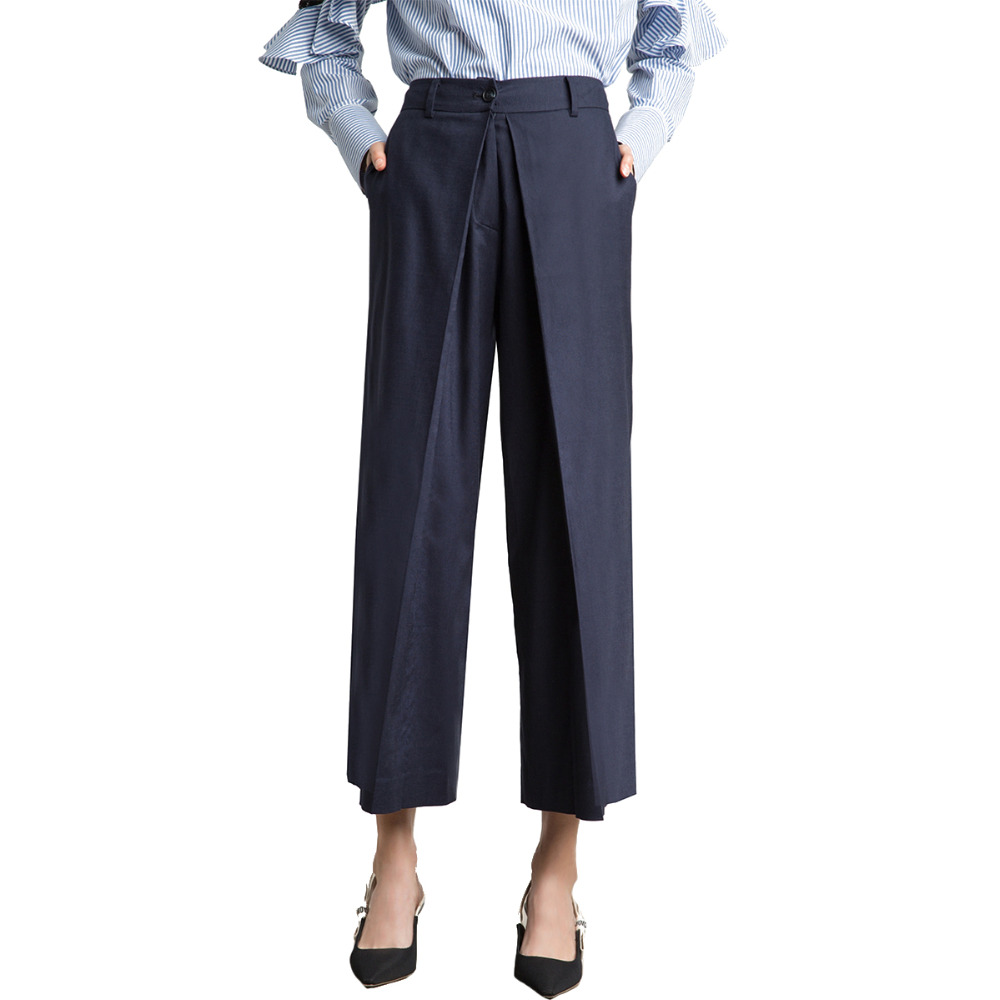 Dark blue high waisted wide leg suit   pants   for women OL formal business work   pants   ladies chic monochrome   capri   plazzo trousers