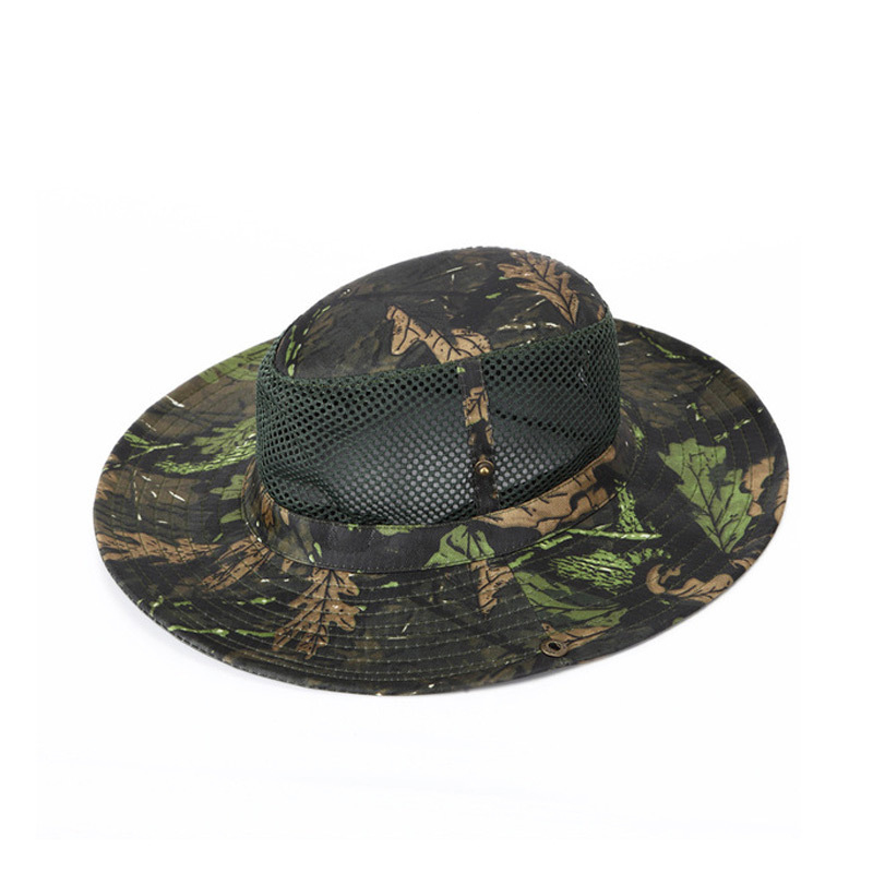 961f153c Bucket Hat Military Tactical Cap Panama Summer Maple Leaf Mesh Hat  Camouflage Boonie Hat Outdoor Travel