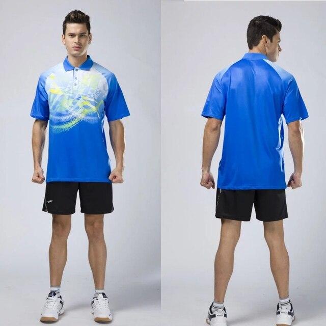 8db81d4032e Vêtements de tennis de table respirants hommes maillots polo badminton  chemise et shorts de tennis de