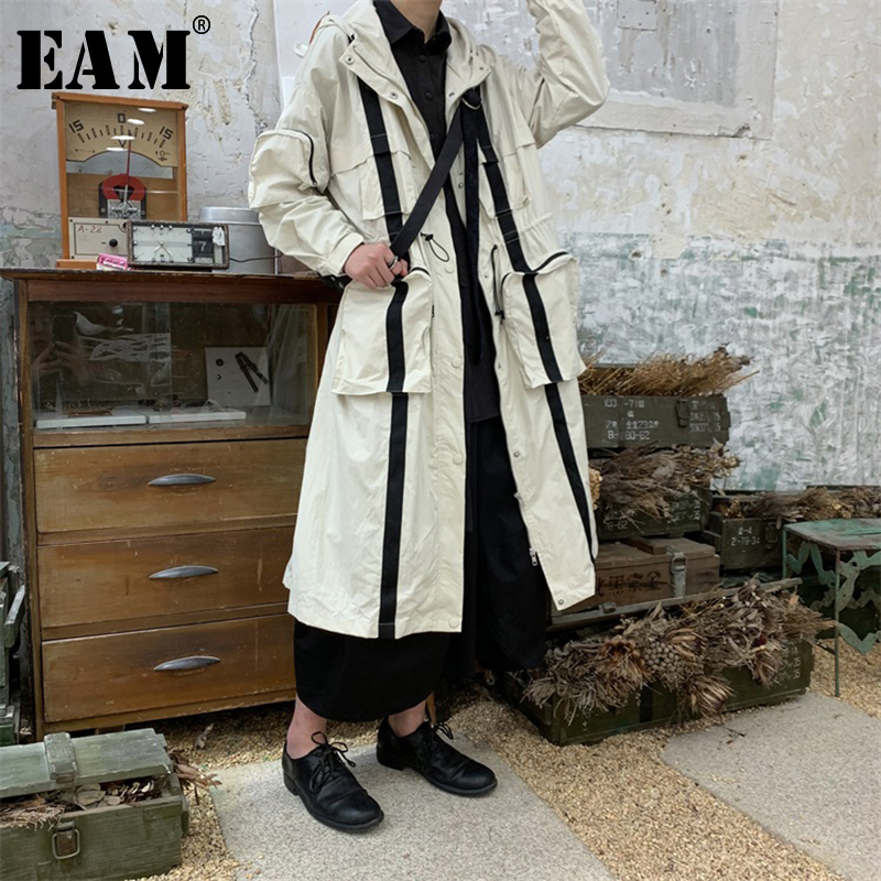 [EAM] 2019 New Spring Summer Hooed Long Sleeve Big Pocket Stitch Loose Big Size Long Windbreaker Women   Trench   Fashion JR029