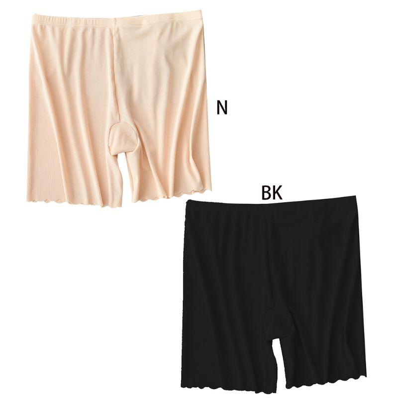 Women Plus Size Thread Cotton Safety Pants Seamless Wavy Scalloped Trim Stretchy Undershorts Sexy Butt Lift Summer Shorts XL-3XL