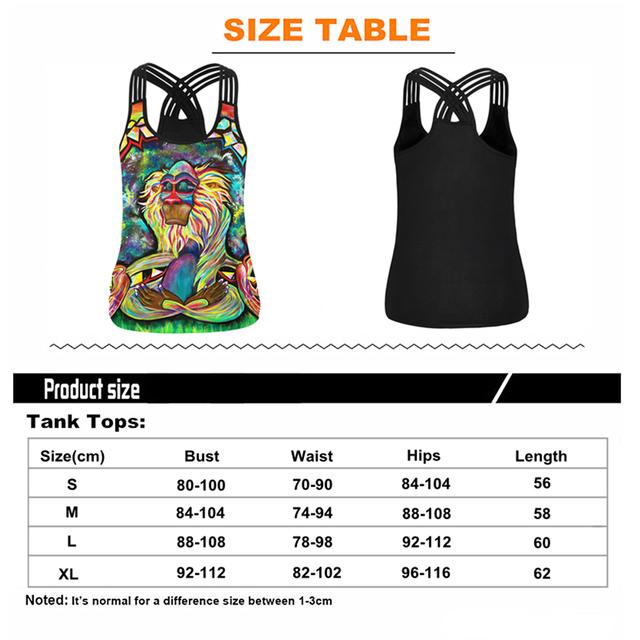 Women Sport Vest Monkey 3D Print