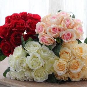 Image 1 - 1 buket 10 adet yapay kırmızı gül kafa çiçek düğün gelin ipek buket doğum günü partisi sevgililer günü ev dekorasyon