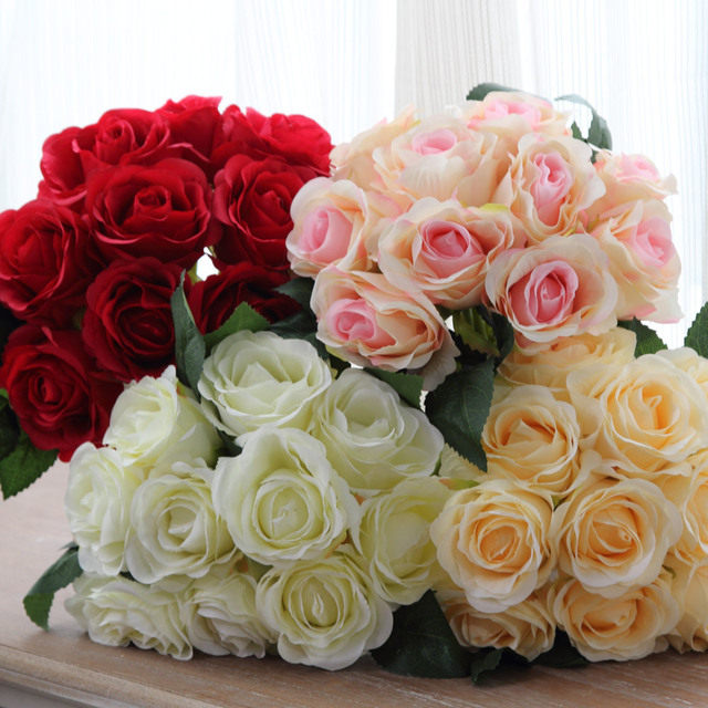 1 buket 10 adet yapay kırmızı gül kafa çiçek düğün gelin ipek buket doğum günü partisi sevgililer günü ev dekorasyon