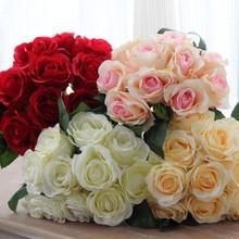 Ramo de rosas rojas artificiales, cabezas de flor, boda, novia, ramo de seda, fiesta de cumpleaños, San Valentín, decoración del hogar, 10 Uds.