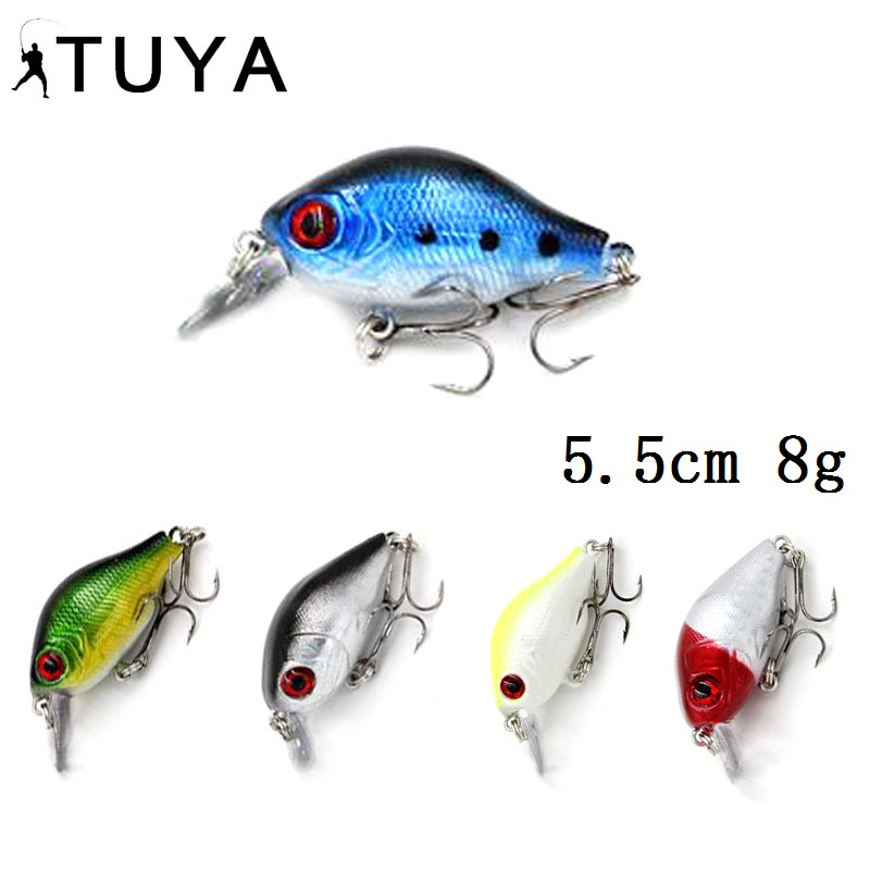 TUYA Crankbait Mini Minnow Wobblers Fishing Lure trolling Crank bait Bionic Fish rolling Artificial Hard Bait 5.5cm 8g
