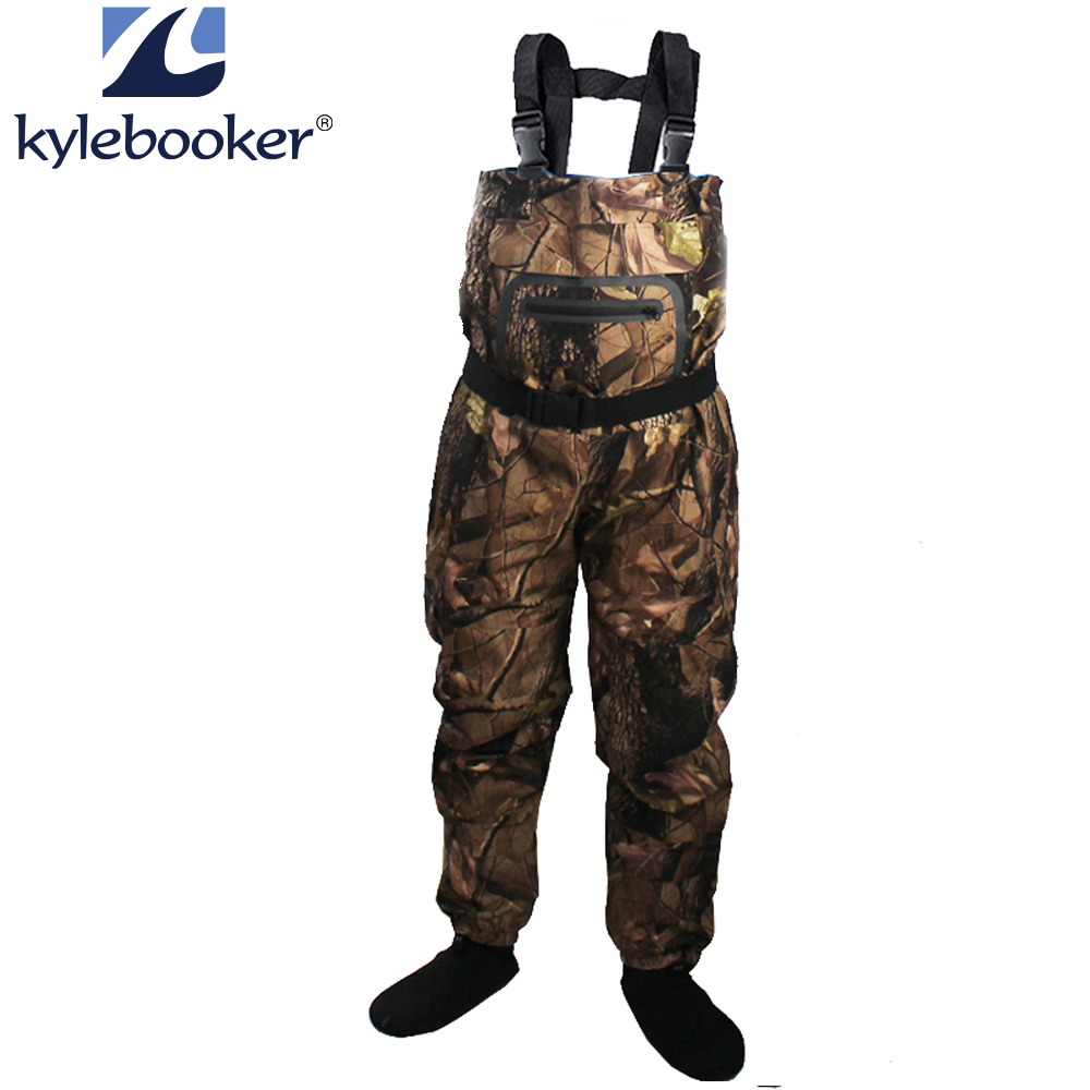 New Fly Fishing Stocking Foot Pecho Waders Asequible Rafting wear Pantalones transpirables Pantalones impermeables Overoles