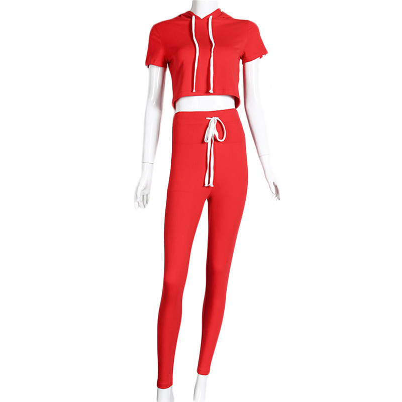 Womens Track Suit With Hood Crop Top and Legging Pants 2 Piece Set Summer 2017 Lady Cotton Suit Hooded Fitness Wear