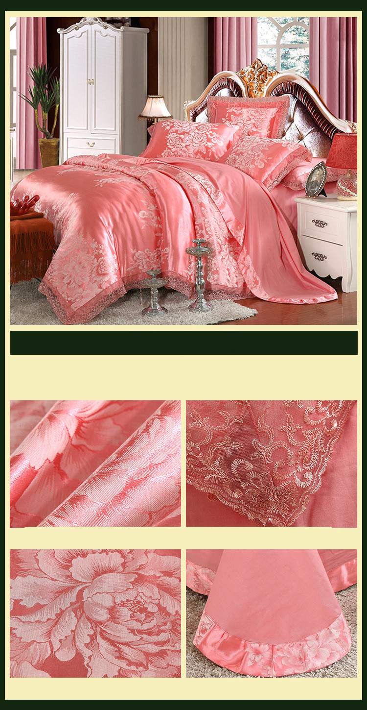 New Luxury Embroidery Tinsel Satin Silk Jacquard Bedding Set, Queen, King Size, 4pcs/6pcs 35