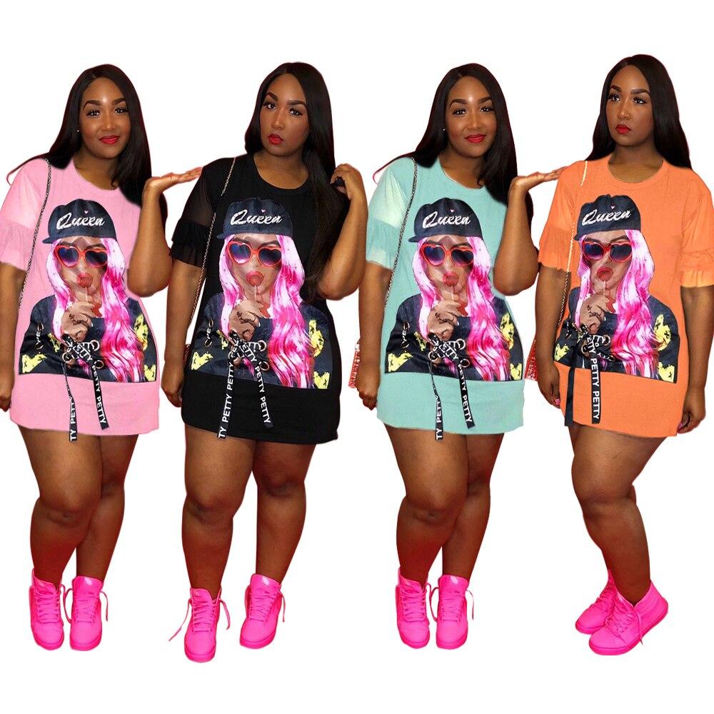Street Style Short Sleeve Sexy T Shirt Dress Women Character Print O Neck Mini Dress Summer Casual Bodycon Dress QJ5229