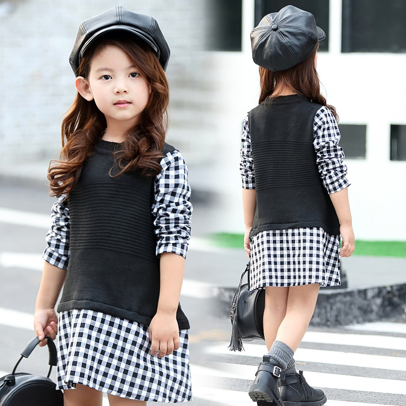 цены  Fashion Autumn 2017 New Warm Girls Plaid Dresses Princess Knitted Winter Party Kids Sweater Dress Girl Clothes Children Clothing