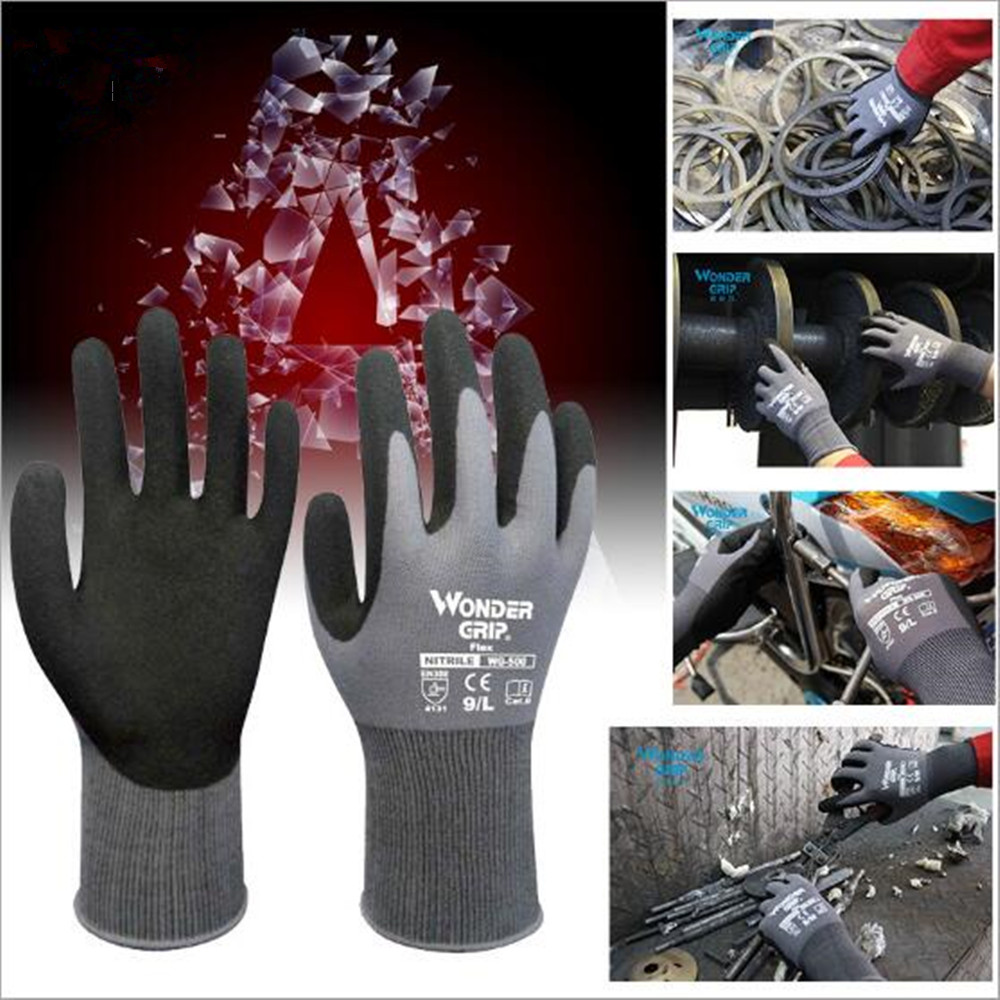 Maintenance Handling Gloves Non-slip Oil-proof And Wear-resistant Nitrile Dipped Labor Insurance Supplies Work Gloves WG-500 work related musculoskeletal disorders and manual material handling