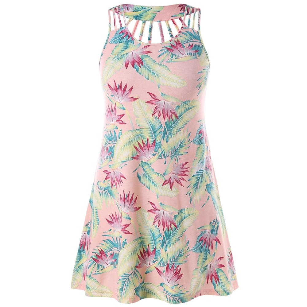 Leaf Print Plus Size Strappy Tunic Dress