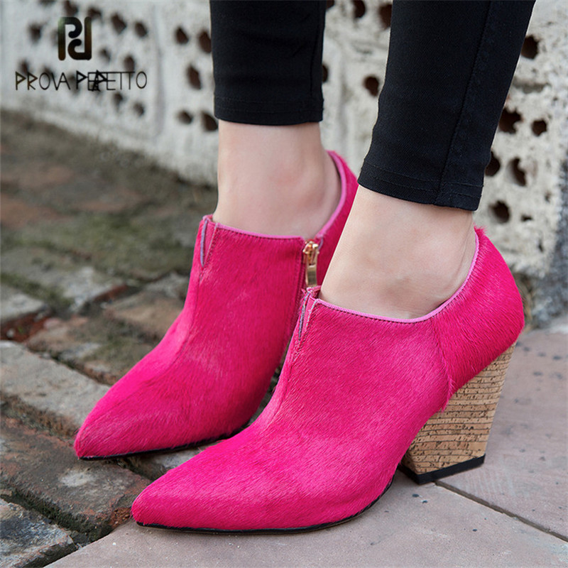Prova Perfetto Horsehair Women Ankle Boots Pointed Toe 8CM High Heel Wedge Shoes Woman Martin Boots Rose Red Women Pumps Wedges real photos black red women boots ankle high wedge heels pointed toe shoes woman super high heel wedges short bota feminina