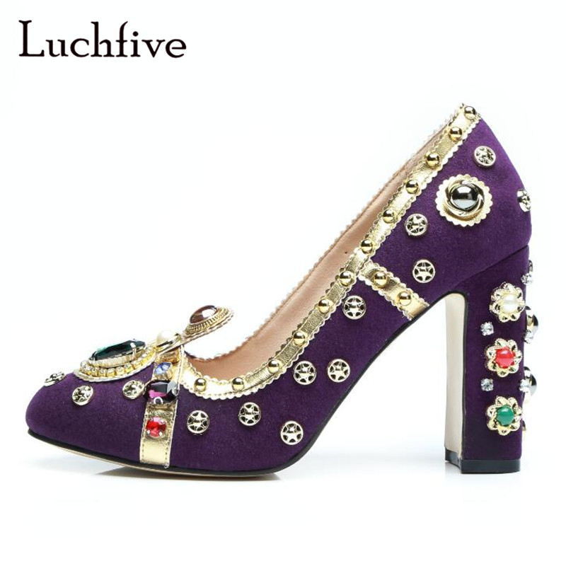 New rhinestone pearls women pumps fashion rivets chunky high heels round toe geninue leather shallow slip on ladies shoes purple гладильная система mie extra luxe