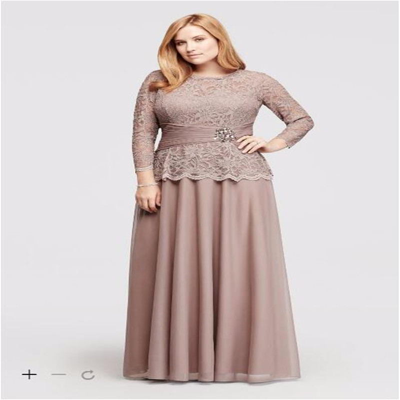 2017 Plus Size Lace Long Sleeves Chiffon Mother of the Bridal ...