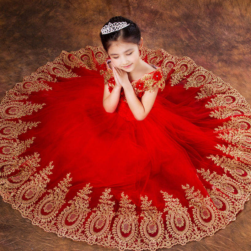 Princess Ball Gown Red Lace Flower Girls Dresses for Weddings Birthday Stage Performance Show Family Matching Outfits