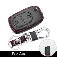 Case 2 Foldable Key Buttons Car Key Leather Keyring Bag Auto Accessory for Audi A2 A2 A3 A4 A6 Cover Cap Fob Remote car folding remote key fob case 2 buttons replacement car key shell fit for audi a2 a3 a4 a6 cr2032 blank blade car key