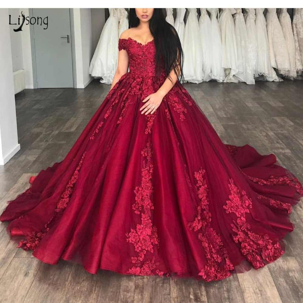 a2f797dc5b7096 Saudi Arabic Burgundy Lace Prom Dresses Vintage Delicate Appliques Long  Prom Gown Off Shoulder Formal Party