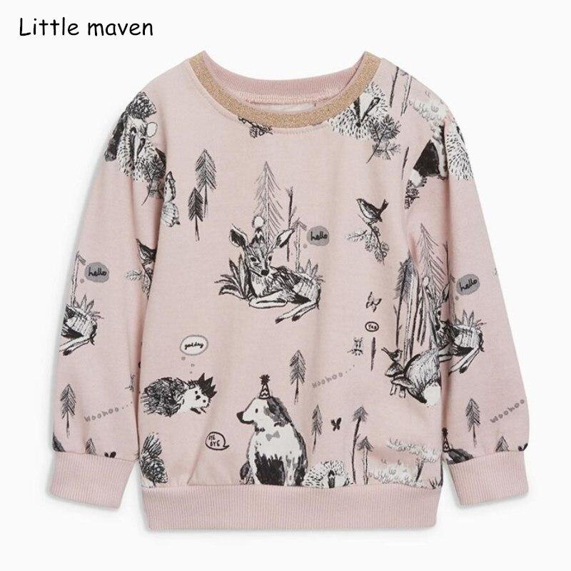 Little maven autumn baby girls brand clothes children Hoodies & Sweatshirts girl cotton Hand-painted animal sweater fleece C0110 1