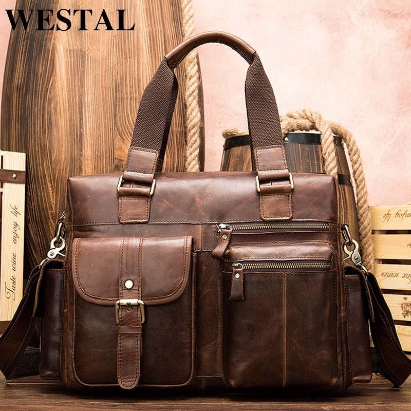 WESTAL Travel Bag Hand Luggage Genuine Leather Foldable Travel Bag Suitcase Luggage Travelbags Duffle Bags Big