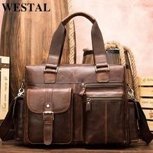WESTAL Travel Bag Hand Luggage Genuine Leather Foldable Travel Bag Suitcase Luggage Travelbags Duffle Bags Big/Weekend Bags 8537