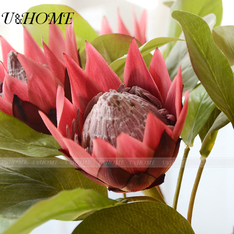 Silk Protea Artificial Flowers High Quality Silk Petals Latex Leaves ...