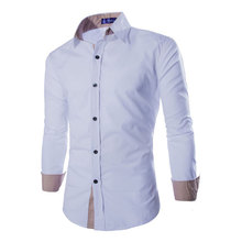font b Men b font ClothesTop Long Sleeve with Patchwork Collar Casual font b Men
